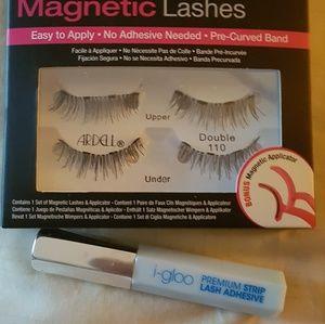 Magnetic false eyelashes and lash adhesive s.